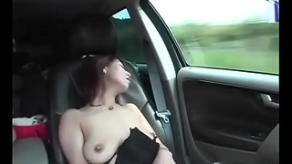 Cheating JAV wife saggy tits car masturbation Subtitled