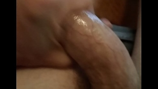 Stroking my wet fat cock
