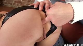 Agile girl is masturbating her moist pussy and pissing