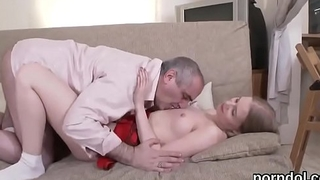 Lovely college girl gets seduced and rode by elderly schoolteacher
