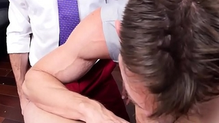 Facialized stud sucks dick in the workplace