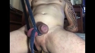 Kicking my big cock hard 1