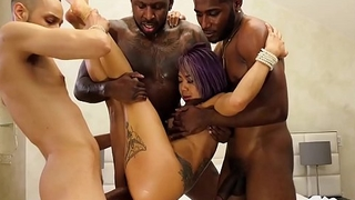 Big Dick Black Guys Crew Make believe Gangbang On Petite Asian Babe