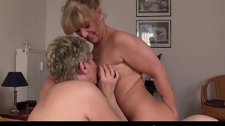 XXX OMAS - Lesbo trio fun for busty mature German blondes
