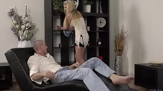 OLD4K. Beautiful girl and aged dad shot at amazing sex on small daybed