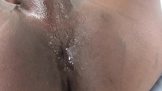Nubian tgirl masturbating during amateur solo