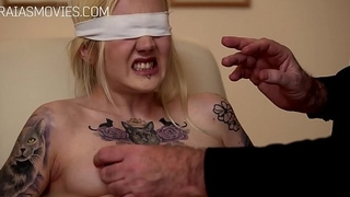 Blindfolded skirt nipple coupled with pussy tortured