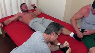 Tied up hunk is eager to be on top of the world and dominated over