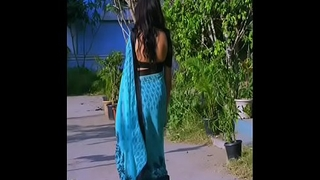 hot milf in blue saree