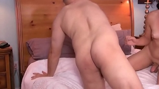 Asslicked trans drills hubby ass doggystyle
