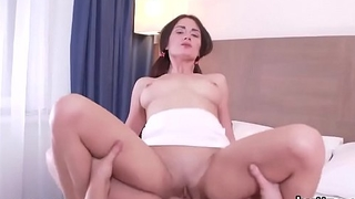 Ravishing small cutie gets her spread cunt and slim anal rode