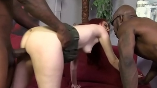 Cute Redhead Double-Teamed by Big Black Cocks - Andrea Skye