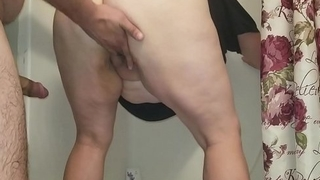 Sexy BBW Gets Fucked in Shower close by Dripping Creampie