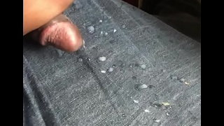 Cum enveloping over my  jeans at work