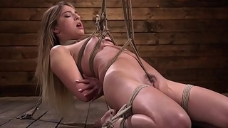 Crotch rope hogtie torment for brunette