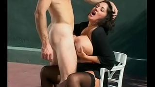 Scalding cock sucking babe Rebecca Bardoux is creamed and takes a dick in the cunt on skiver court