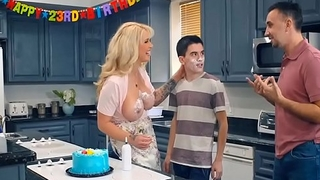 MILF has fun with Teen in Her kitchen