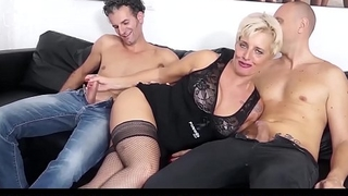 CASTING ALLA ITALIANA - Mature Italian fair-haired gets DP and cum on feet in hot FFM threesome