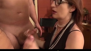 LA COCHONNE - Horny French mediocre with glasses gets cum on tits in dirty MMF threesome
