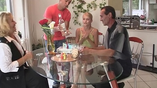 Blonde mother-in-law and dad fuck son'_s girlfriend