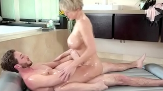 Beamy tits milf fucking with young guy after massage