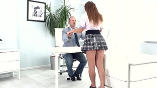 Tricky Old Teacher - Irresistible babe seduces elder statesman teacher